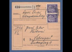 Bund Heuss 70Pfg waag. Paar als MEF auf Paketkarte aus Hohenpeißenberg