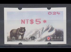 China Taiwan Nagler-ATM Bär Stern 8-strahlig, mit ZN, Wert rot **