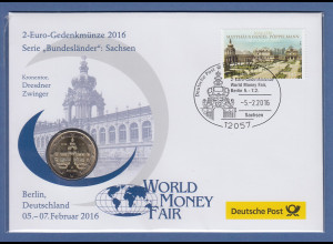 Numisbrief offiziell Deutsche Post mit 2€ Münze 2016 Bundesland Sachsen Dresden