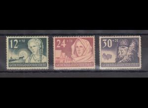 Generalgouvernement 1940 Wolhynien-Deutsche Mi.-Nr. 56-58 Satz 3 Werte kpl. **