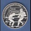 Sambia /Zambia 1992 Silbermünze 100 Kwacha Olympische Spiele Barcelona Boxen PP