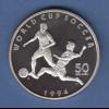 Marschall Inseln Silbermünze 50$ Fußball-WM 1994 USA, 2 Spieler am Ball, PP