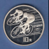 VR China 1990 Silbermünze 10 Yuan Olympische Spiele Barcelona 1992 Radfahrer