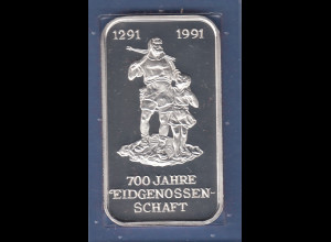 HERAEUS Sammler-Silberbarren 700 Jahre Eidgenossenschaft 31,10g Ag999