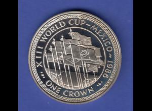 "Isle of Man 1 Crown - Fußball Weltmeisterschaft 1986 in Mexico ""Flaggen"""