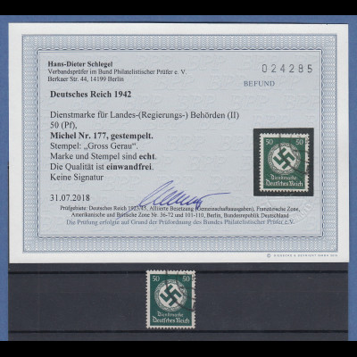 Dt. Reich Dienstmarke Hakenkreuz 50 Pfg grün Mi.-Nr. 177 echt O gepr. Schlegel