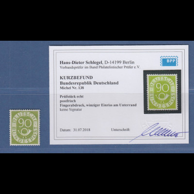 Bundesrepublik Posthornsatz 90 Pfg-Wert Mi.-Nr. 138 ** mit Befund Schlegel