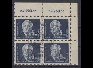 DDR 1951 Pieck 5DM-Höchstwert Eckrand-Viererblock OR, Gefälligkeits-Stempel