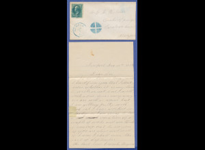 USA, 1879, Brief mit stummem Stempel Newport N.H. gelaufen nach New York