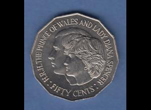 Australien Gedenkmünze 50 Cents Hochzeit Prince of Wales & Lady Diana 1981