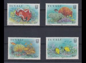 Tuvalu 1988 Korallen Mi.-Nr. 485-88 Satz 4 Werte **