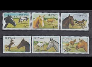Philippinen 1985 Pferde auf der Weide Mi.-Nr. 1670-75 **