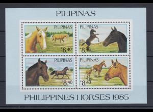 Philippinen 1985 Pferde auf der Weide Mi.-Nr. Block 28 **