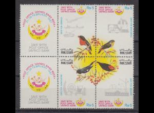 Pakistan 1987 Sparziele , Vögel Mi.-Nr. 686-89 Satz 4 Werte **