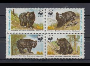 Pakistan 1989 Kragenbär WWF Mi.-Nr. 759-62 Satz 4 Werte **
