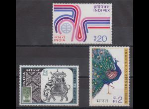 Indien 1973 INDIPEX Emblem, Elefant, Pfau Mi.-Nr. 580-82A Satz 3 Werte **