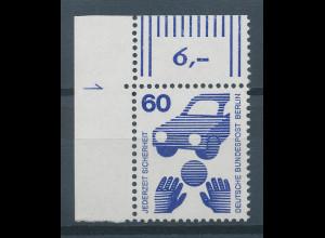 Berlin 1971 Unfallverhütung 60 Pfg Eckrandstück mit Druckerzeichen 1 **