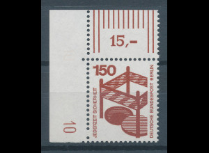 Berlin 1971 Unfallverhütung 150 Pfg Eckrandstück mit Druckerzeichen 10 **