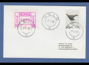 Norwegen 1978 FRAMA-ATM Mi.-Nr. 1.xa dunkles Papier auf Karte O Oslo 27.11.80