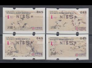 China Taiwan Nagler-ATM Kraniche, Stern 8-strahlig gerade, Mi.-Nr. 7.3e - 10.3e