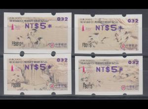 China Taiwan Nagler-ATM Kraniche, Stern 8-strahlig gerade, Mi.-Nr. 7.3f - 10.3f
