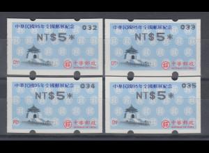 China Taiwan Nagler- Sonder-ATM ROCUPEX 2006 Mi.-Nr. 13.3e 032,033,034,035 **