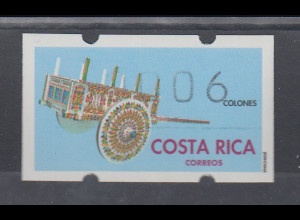 Costa Rica, Klüssendorf-ATM Geschmückter Karren, Wert 006, Mi.-Nr. 1 **