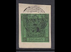 Baden 1852 Freimarke 3 Kreuzer grün Mi.-Nr. 6 gestempelt auf Briefstück