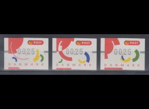Dänemark 1995 FRAMA-ATM Segmente I , Set 3 ATM ** Mi.-Nr. 2-4