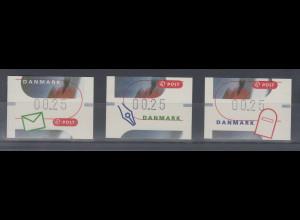 Dänemark 2000 FRAMA-ATM Briefeschreiben, Set 3 ATM ** Mi.-Nr. 11-13