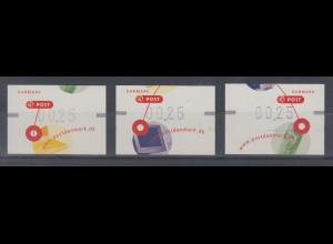 Dänemark 2001 FRAMA-ATM Kommunikation, Set 3 ATM ** Mi.-Nr. 14-16