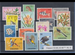 Singapur Freimarken Mi.-Nr. 53-60I sowie 62-68 insgesamt 15 Werte postfrisch **