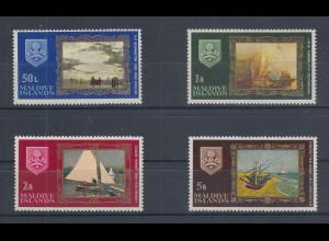 Malediven Gemälde mit Schiffen / Booten Mi.-Nr. 269-272 Satz 4 Werte **