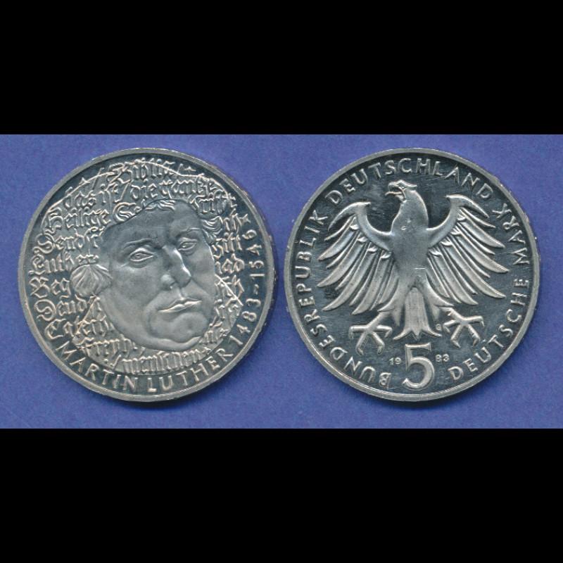 Bundesrepublik 5dm Gedenkmünze 1983 Martin Luther Tilman Dohren