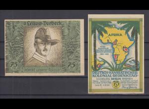 Notgeld Deutsch-Hanseatischer Kolonialgedenktag 75Pfg Motiv v.Lettow-Vorbeck