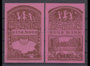 Notgeld Süsel 2x75Pfg perforierter Doppelschein, lilarot, bankfrische Erhaltung