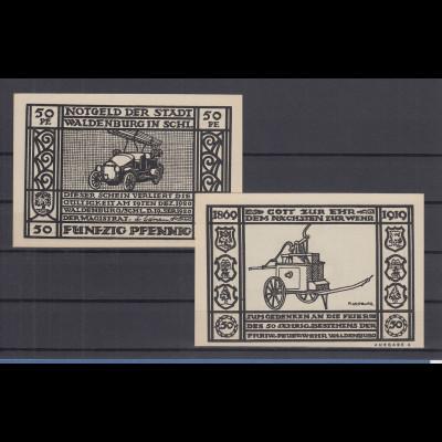 Notgeld Stadt Waldenburg Schlesien Feuerwehr Feuerwehrauto 50Pfg schwarz 1919