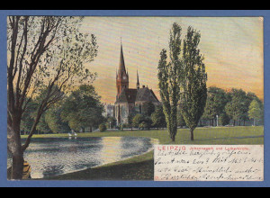 AK Leipzig Johannapark und Lutherkirche gelaufen 1906