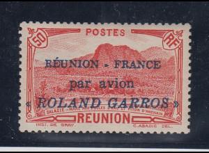 """Reunion 1937 Flugpostmarke """"Roland Garros"""" einwandfrei ** gepr. mit Attest"""