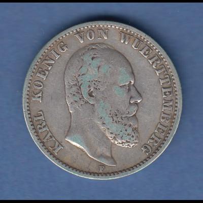 Deutsches Kaiserreich Württemberg König Karl Silbermünze 2 Mark 1877 E