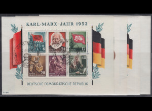 DDR 1953 alle 4 Karl-Marx-Blocks sauber gest. mit Sonder-O einwandfreie Qualität