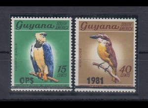 Guyana Tiere Vögel Aufdruckmarken u.a. Mi.-Nr. 634 **