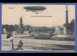 AK Berlin Siegessäule, darüber Pionier-Luftschiff 1911 gel. nach Frankreich