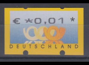 Deutschland ATM 3 Posthörner, €-Währung, Automat Sielaff, Mi.-Nr. 4 **