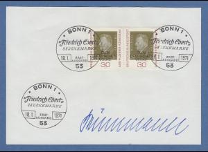 Bundespräsident Gustav Heinemann original-Autogramm auf philatel. Vorlage 1971