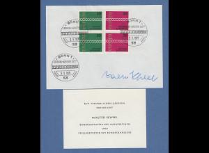 Walter Scheel Bundesminister original-Autogramm auf philatel. Vorlage 1971