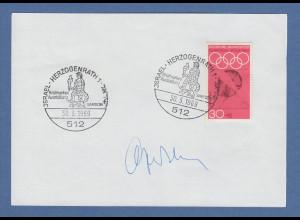 Israelischer Botschafter Asher Ben-Natan original-Autogramm auf Vorlage 1969