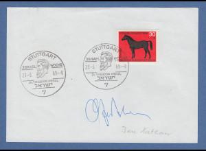 Israelischer Diplomat Ben-Natan original-Autogramm auf philatel. Vorlage 1969