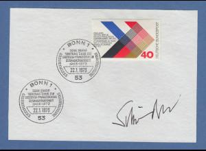 Gerhard Fritz Kurt Schröder original-Autogramm 1973