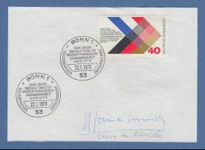 Premierminister Frankreich Maurice Couve de Murville original-Autogramm 1973